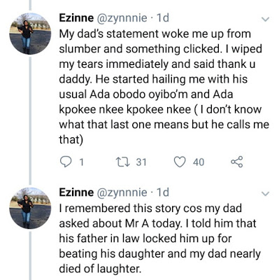 Lady narrates how her father saved her from an abusive marriage