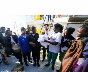 Photos: Nigerian woman gives birth to healthy baby boy on Italy-bound migrant rescue ship