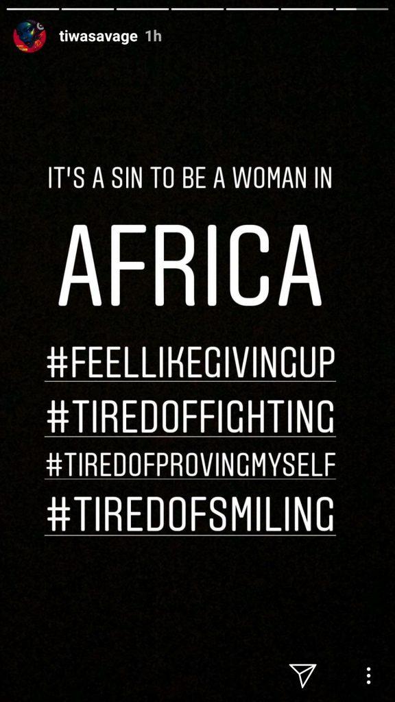 """It's A Sin To Be A Woman In Africa, I Feel Like Giving Up"" – Tiwa Savage BreaksDown"