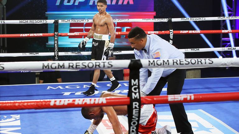 Shakur Stevenson beat Felix Caraballo in Las Vegas in major US boxing's return